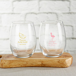 Personalized 9 oz. Stemless Wine Glass - Cheery and Chic